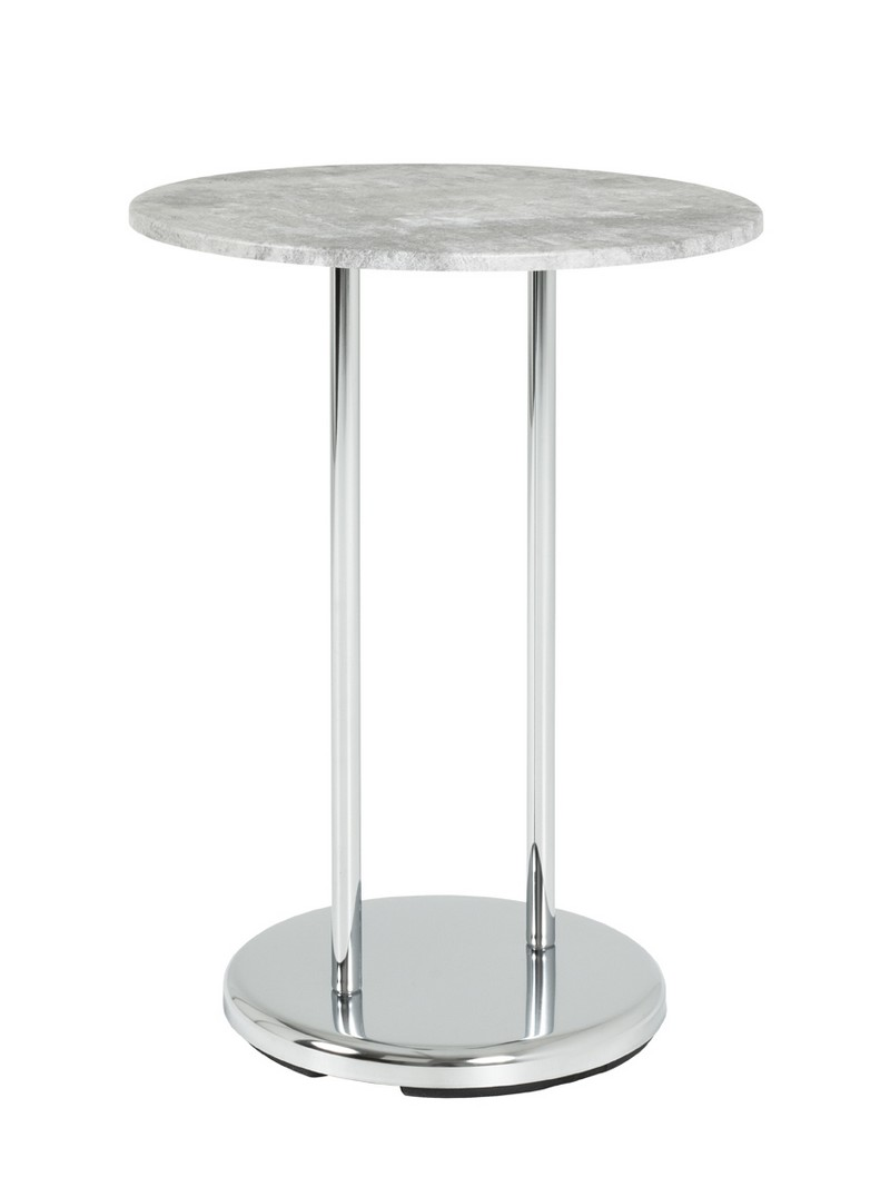 Round Concrete and Chrome Side Table (33660)