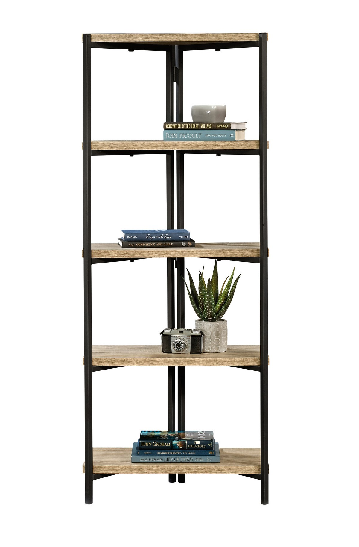 Industrial Style Chunky 5 Shelf Chater Oak Bookcase