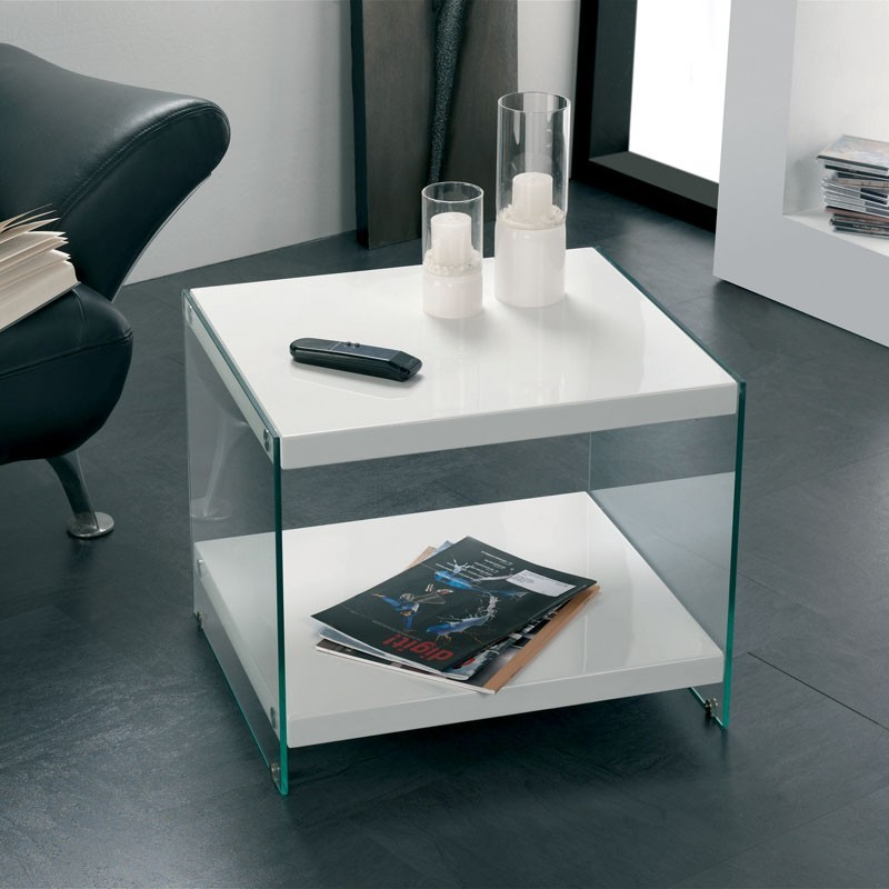 White Gloss Table: Olymp White Gloss & Glass Side Table (87391