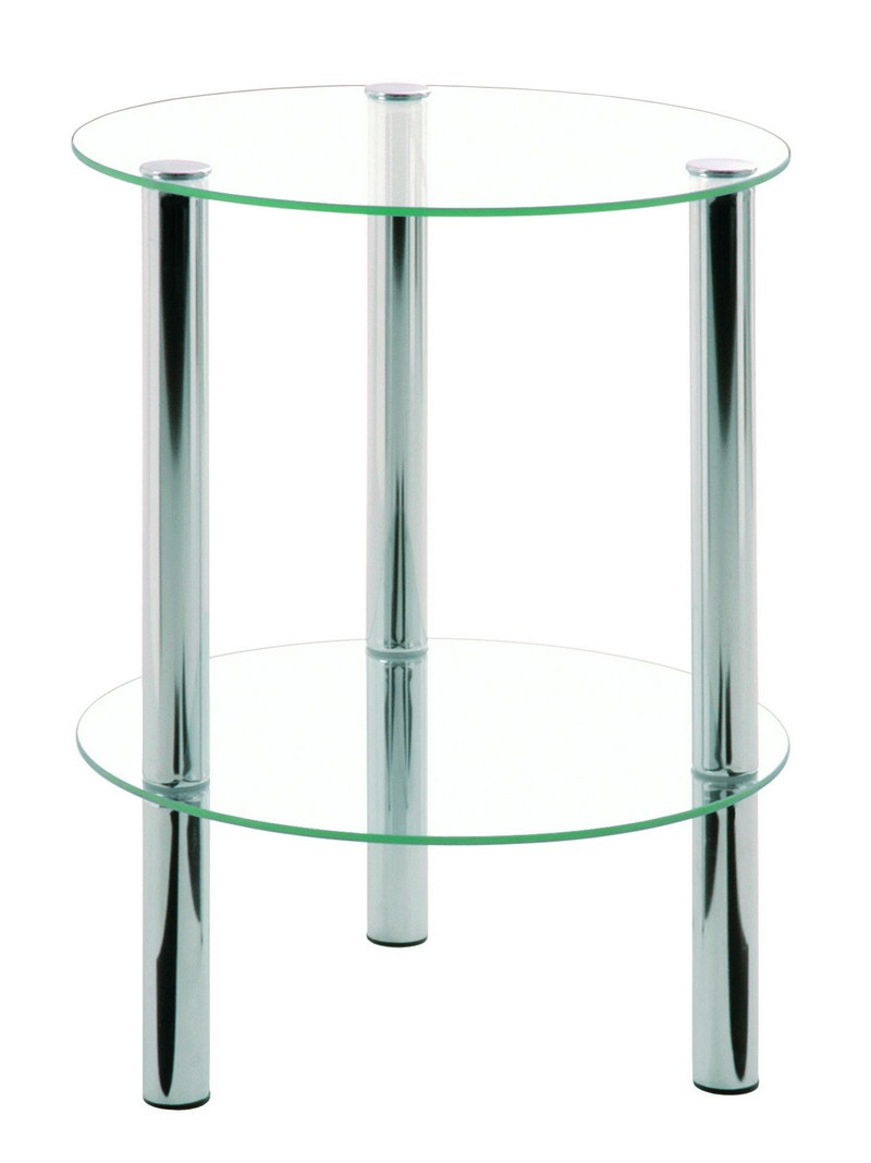 Emden Round Clear Glass & Chrome Occasional Table (90243)