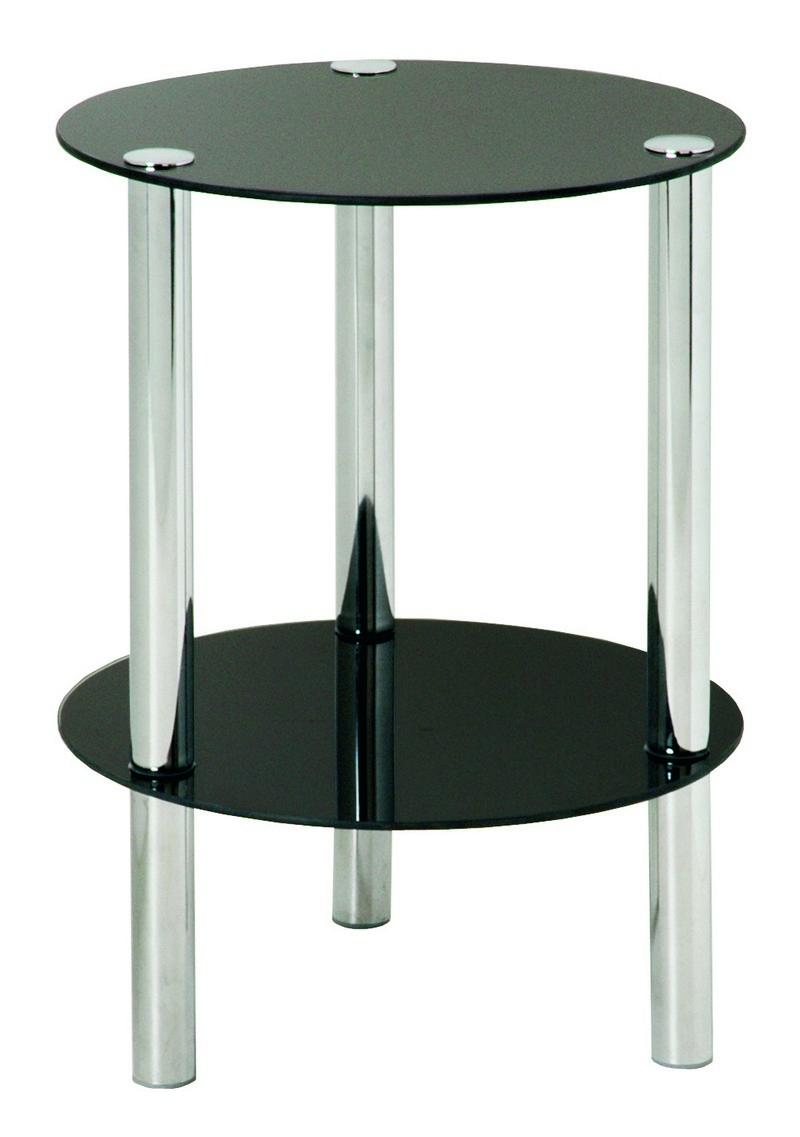 Emden Round Black Glass Amp Chrome Side Table 90543